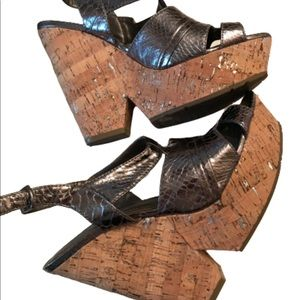 BCBGen foil Gold Platform Wedge Chunky Heels